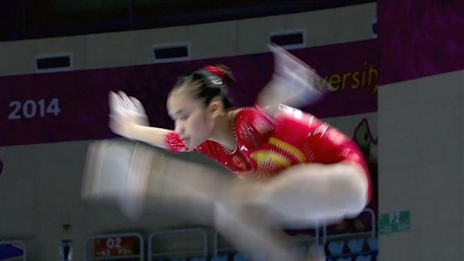 JHK0. Incheon (Korea, Republic Of), 22/09/2014.- Huang Huidan of China competes on the Balance Beam during the Artistic Gymnastics at the 17th Incheon Asian Games at the Namdong Gymnasium in Incheon, South Korea, 22 September 2014. The 2014 Incheon Asian Games run from 19 September to 04 October 2014. EFE/EPA/JEON HEON-KYUN