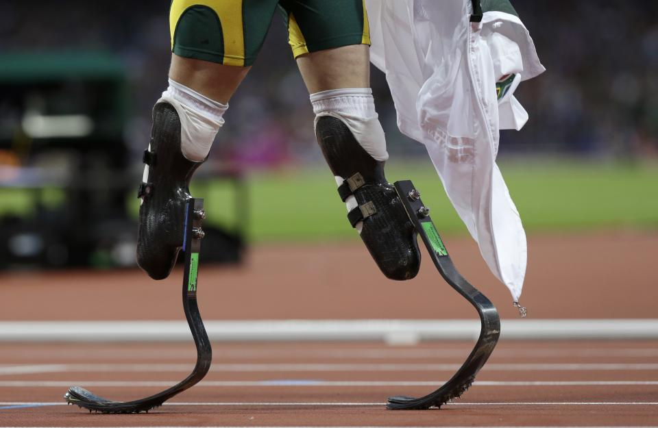 South Africa's Oscar Pistorius prepares to run in his men's 400-meters semifinal during the athletics in the Olympic Stadium at the 2012 Summer Olympics, London, Sunday, Aug. 5, 2012. (AP Photo/Anja Niedringhaus)