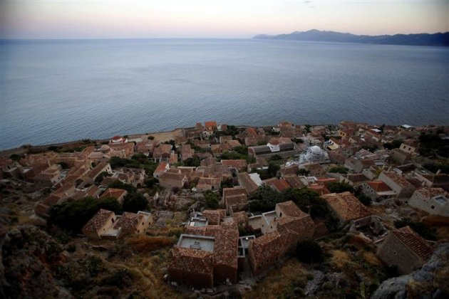 General view of old Monemvasia town from atop the medieval fortress