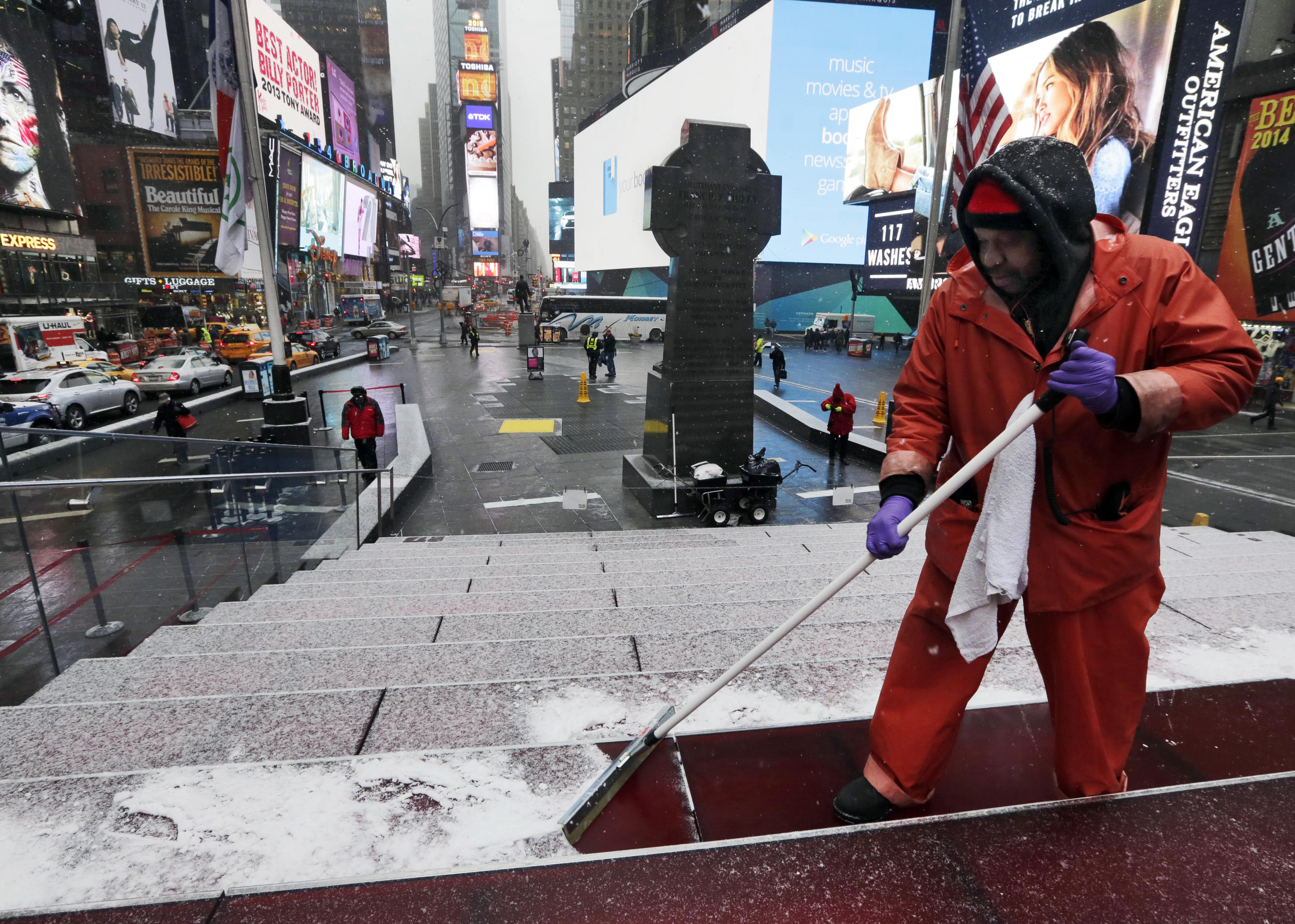 Broadway theaters shutter as snowstorm blasts New York City