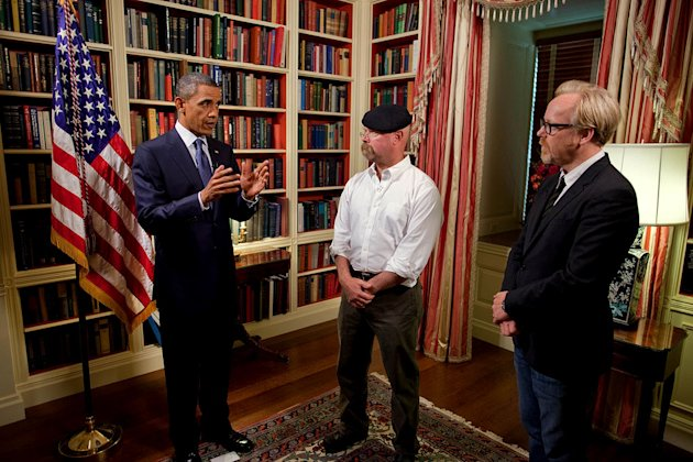 "President Barack Obama in an episode of ""MythBusters."""