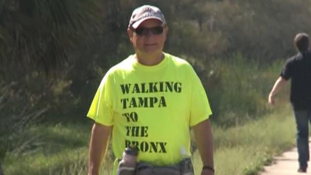 Yankees fan to walk from Tampa to Yankee Stadium for charity