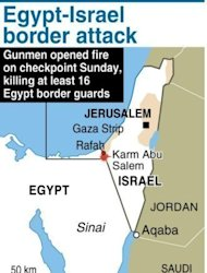 Map locating the area where gunmen killed 16 Egypt guards near the border with Israel