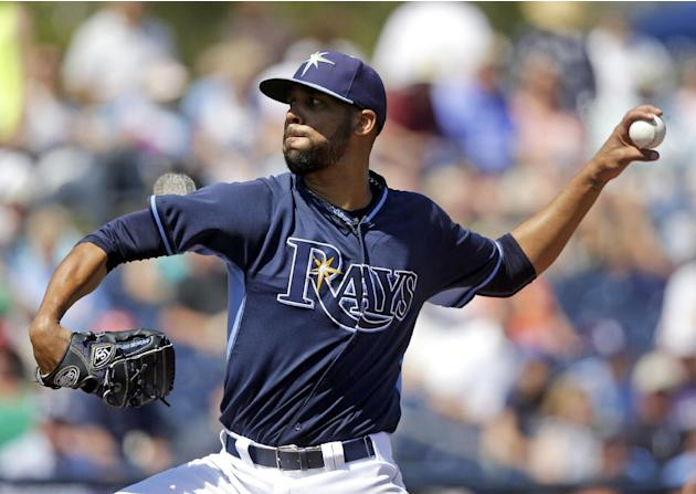 Tampa Bay Rays starting pitcher David Price throws in the fifth inning of an exhibition baseball game against the Minnesota Twins in Port Charlotte, Fla., Tuesday, March 11, 2014