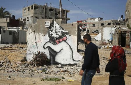 Britain's Banksy takes aim at Gaza's privations in mini-video