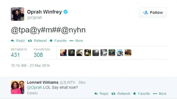 Oprah Pocket Dials Herself on Twitter