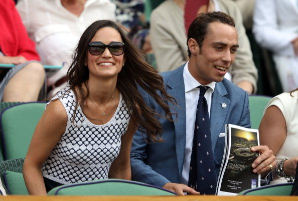 Pippa Middleton and James Middleton watch the Gentlemen&amp;#39;s Singles second round match between Andy Murray of Great Britain and Ivo Karlovic of Croatia on day four of the Wimbledon Lawn Tennis Champ