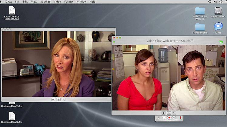 "Lisa Kudrow as Fiona Wallice, Rashida Jones as Hayley Feldman-Tate, and Dan Bucatinsky as Jerome Sokoloff in ""Web Therapy."""