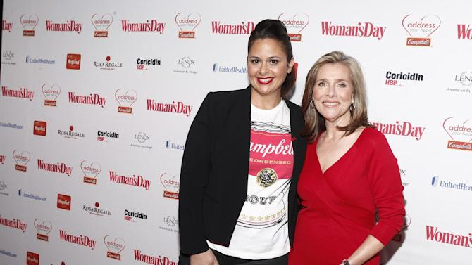 """Antonio Lofaso, a fan favorite and finalist on Bravo's """"Top Chef All-Stars,"""" and television personality Meredith Viera walk the red carpet at the Woman's Day Red Dress Awards on February 12, 2013, in New York City. (Brian Ach/AP Images for Campbell's)"""