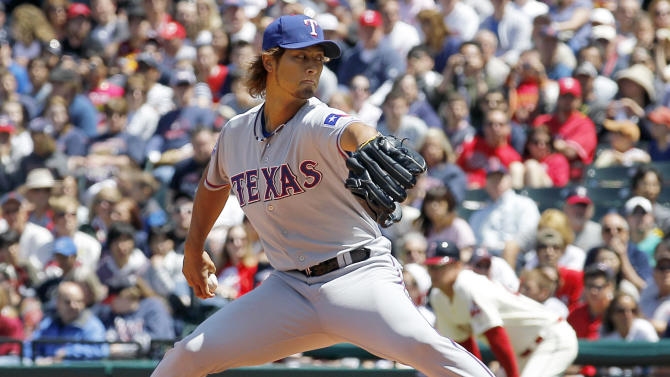 Texas Rangers starting pitcher Yu Darvish delivers against the Cleveland Indians in the first inning of a baseball game in Cleveland, Sunday, May 6, 2012. (AP Photo/Amy Sancetta)