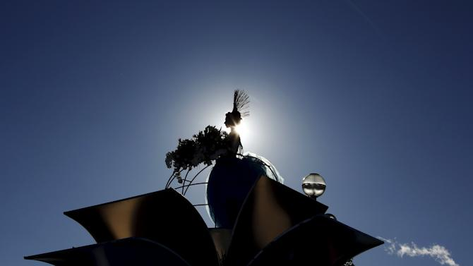 The Queen of the Carnival stands on her float during the flower parade as part of the carnival in Nice