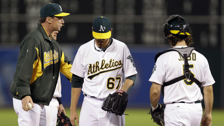 Oakland Athletics starting pitcher Dan Straily (67) is pulled from the game by manager Bob Melvin, left, during the fifth inning of a baseball game against the Los Angeles Angels on Monday, April 29, 2013 in Oakland. Calif. (AP Photo/Marcio Jose Sanchez)