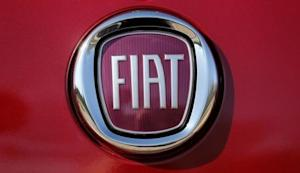 Fiat logo is seen on a Fiat vehicle displayed outside Chrysler World Headquarters during the FCA Investors Day in Auburn Hills