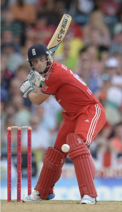 England's Buttler prepares to hit out during the second T20 international cricket match against the West Indies' in Barbados
