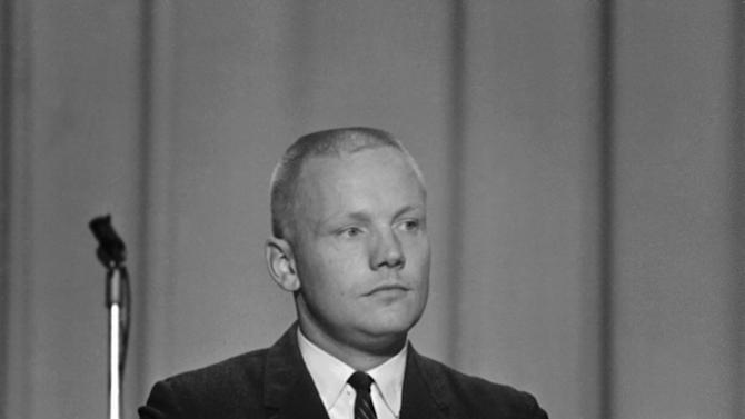 """FILE - In this Sept. 17, 1962 file photo, Neil Armstrong, one of the nine astronauts, is shown as he was introduced to the press, along with the other astronauts in Houston. The family of Neil Armstrong, the first man to walk on the moon, says he has died at age 82. A statement from the family says he died following complications resulting from cardiovascular procedures. It doesn't say where he died. Armstrong commanded the Apollo 11 spacecraft that landed on the moon July 20, 1969. He radioed back to Earth the historic news of """"one giant leap for mankind."""" Armstrong and fellow astronaut Edwin """"Buzz"""" Aldrin spent nearly three hours walking on the moon, collecting samples, conducting experiments and taking photographs. In all, 12 Americans walked on the moon from 1969 to 1972.  (AP Photo/FILE)"""