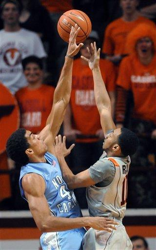 Barnes' 27 leads No. 8 UNC past Hokies, 82-68