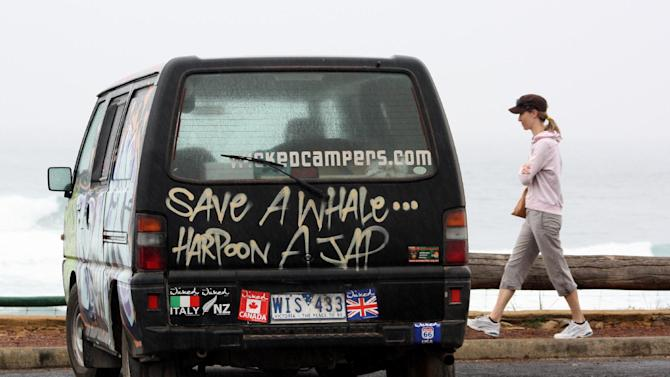 "A controversial Wicked Campers Australia van with the slogan ""Save a Whale...Harpoon a Jap"" in Margaret River, Western Australia on October 27, 2009, the firm has come under fire again, this time for ""misogynistic"" messages on its vehicles"