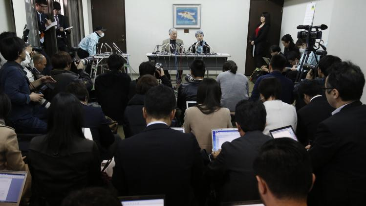 Sakie Yokota, mother of Megumi Yokota who was abducted by North Korea agents at age 13 in 1977, answers questions from the media with her husband Shigeru during a news conference in Kawasaki