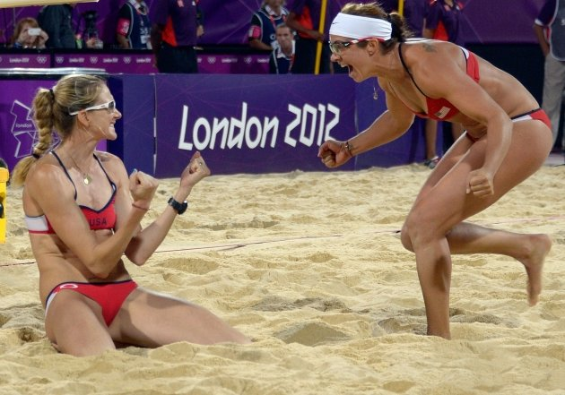 Kerri Walsh and Misty May-Treanor and celebrate at the end of the women Beach Volleyball final match against April Ross and Jennifer Kessy at the London 2012 Olympic Games on August 08, 2012 -- Getty Premium