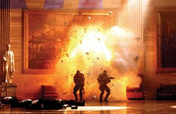 An explosion in Columbia Pictures' XXX: State of the Union