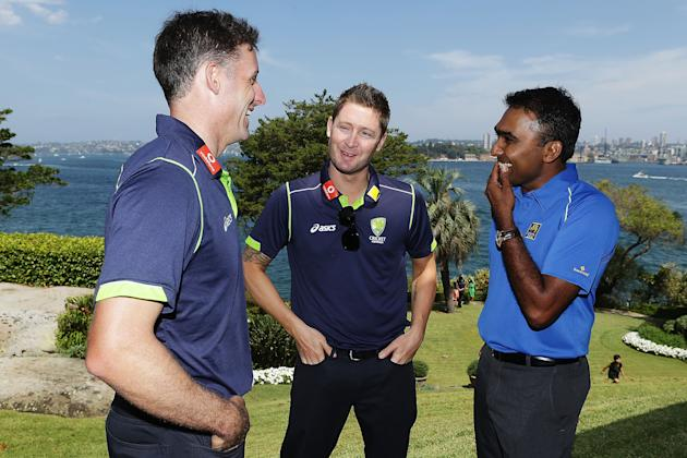 SYDNEY, AUSTRALIA - JANUARY 01:  Michael Hussey and Michael Clarke of Australia share a joke with Mahela Jayawardene of Sri Lanka during a function at Kirribilli House on January 1, 2013 in Sydney, Au