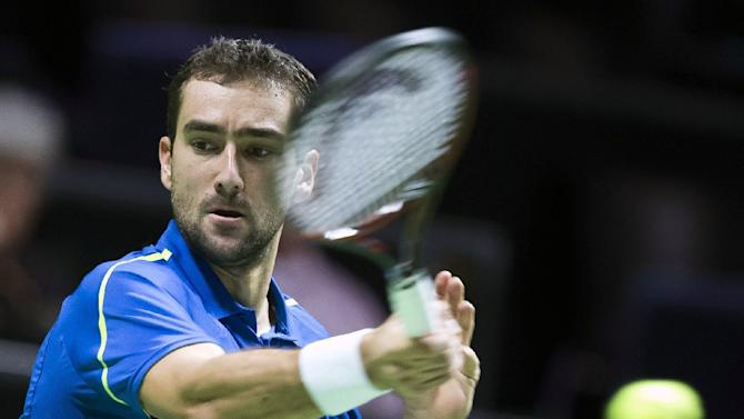 Croatia's Marin Cilic returns the ball during the first round of the ABN AMRO World Tennis Tournament on February 8, 2016 in Rotterdam