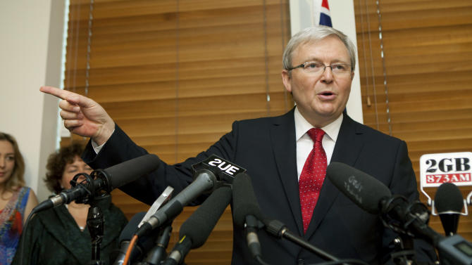 Former Australian Prime Minister Kevin Rudd speaks at a media conference after losing a leadership challenge against current Prime Minister Julia Gillard in Canberra, Australia, Monday, Feb. 27, 2012. Gillard easily won an internal party vote Monday against Rudd, the colleague she deposed two years ago, and declared that she had put down the internal strife that has undermined her unpopular government for months.  (AP Photo/Andrew Taylor)