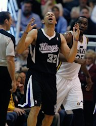 Sacramento Kings forward Francisco Garcia (32) reacts to a call during the first half of their NBA basketball game against the Utah Jazz in Salt Lake City, Friday, March 30, 2012. (AP Photo/Steve C. Wilson)