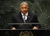 The government of Fiji on Saturday re-instated the right to hold public meetings, which were outlawed following the 2006 coup that brought military strongman Voreqe Bainimarama, pictured in 2010, to power