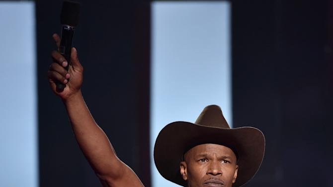Jamie Foxx speaks at the iHeartRadio Music Awards at The Shrine Auditorium on Sunday, March 29, 2015, in Los Angeles.  (Photo by John Shearer/Invision for iHeartRadio/AP Images)