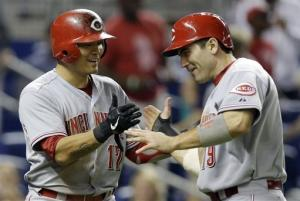 Reds beat Marlins 5-3 in 10 to complete sweep