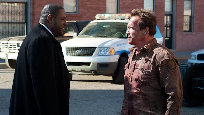 "This undated publicity photo released by Lionsgate shows Forest Whitaker, left, as Agent John Bannister, and Arnold Schwarzenegger, as Ray Owens, in a scene from the film, ""The Last Stand."" (AP Photo/Lionsgate, Merrick Morton)"