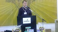 David Northcott, executive director of Winnipeg Harvest food bank, speaks to media on Tuesday.