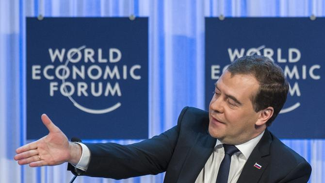 The Prime Minister of the Russian Federation Dmitry Medvedev gestures during a panel session on the first day of the 43rd Annual Meeting of the World Economic Forum, WEF, in Davos, Switzerland, Wednesday, Jan. 23, 2013. (AP Photo/Keystone, Laurent Gillieron)