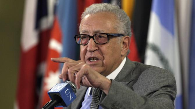 Lakhdar Brahimi, Joint Special Representative of the United Nations and the League of Arab States for Syria, answers media questions after consultations at United Nations headquarters, Thursday, Nov. 29, 2012. (AP Photo/Richard Drew)