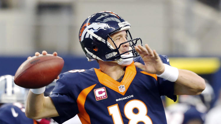 Denver Broncos quarterback Peyton Manning passes the ball against the Dallas Cowboys during the second quarter of an NFL football game Sunday, Oct. 6, 2013, in Arlington, Texas. (AP Photo/Sharon Ellman)