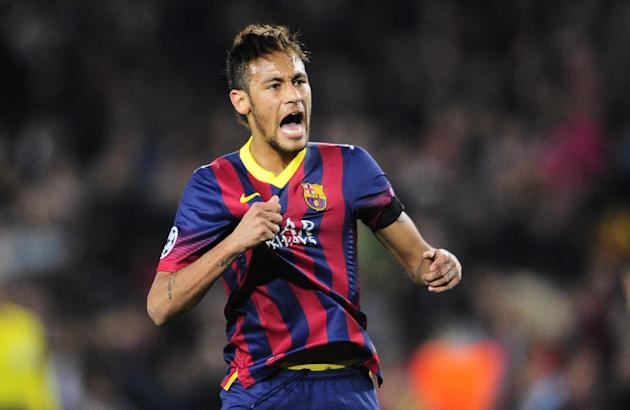Barcelona's Neymar shouts during a Champions League, round of 16, second leg, soccer match between FC Barcelona and Manchester City at the Camp Nou Stadium in Barcelona, Spain, Wednesday March 12,