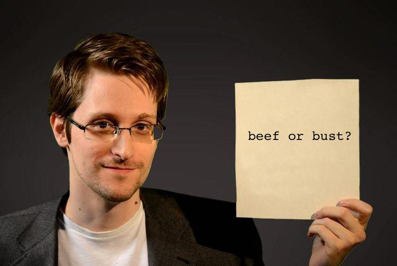 Edward Snowden holds up a piece of paper, and that's how memes are born