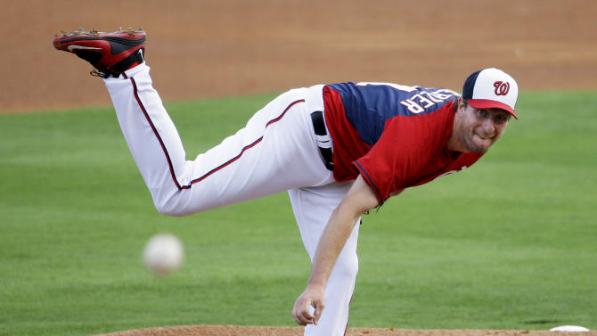 Washington Nationals starting pitcher Max Scherzer throws in the first inning of an exhibition spring training baseball game against the New York Mets, Thursday, March 5, 2015, in Viera, Fla. (AP Photo/David Goldman)