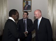 Malian President Dioncounda Traore (L) greets Britain&#39;s Foreign Secretary William Hague on March 4, 2013 in Bamako