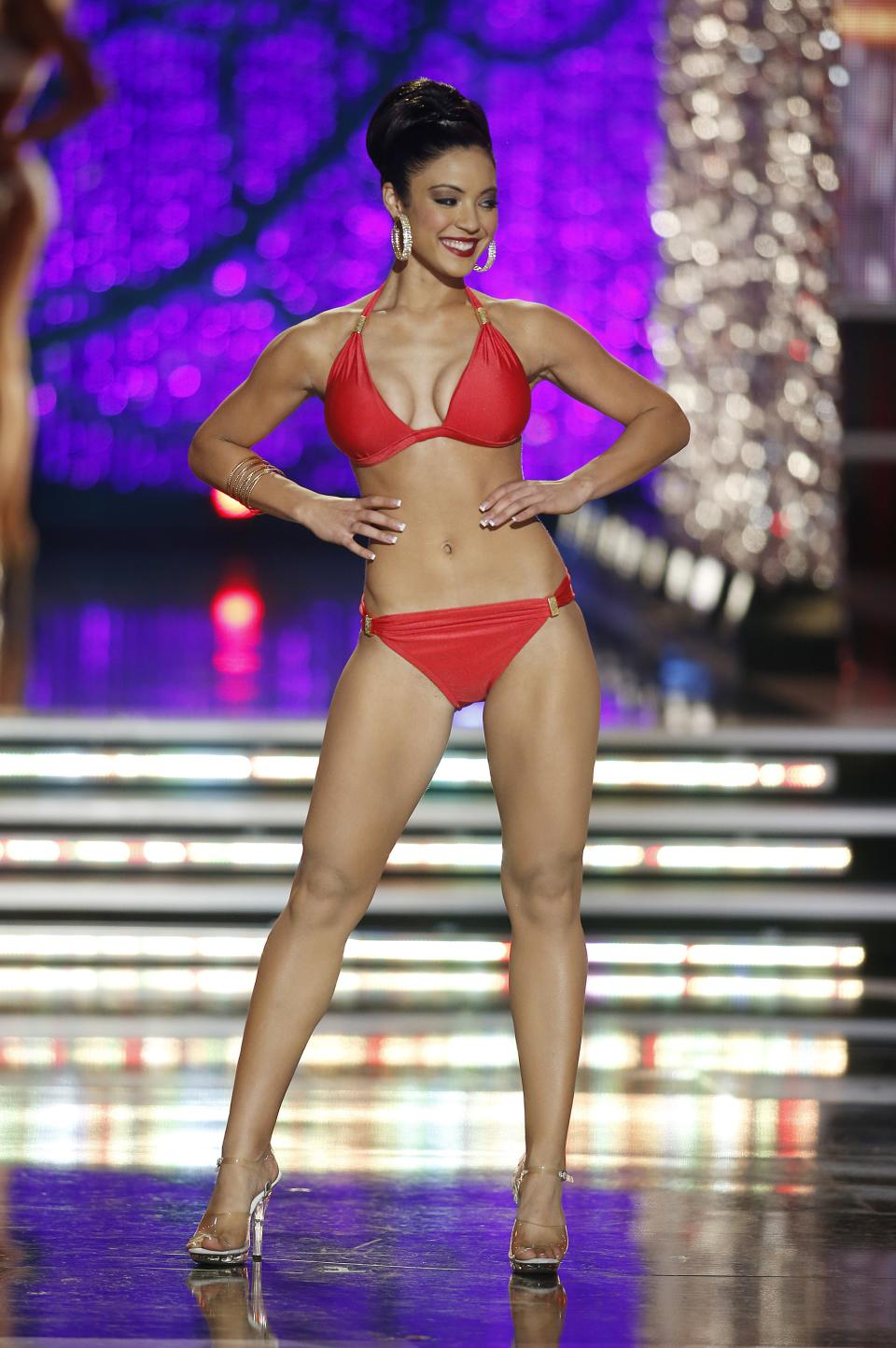 Miss Iowa Mariah Cary competes in the swimsuit portion of the Miss America 2013 pageant on Saturday, Jan. 12, 2013, in Las Vegas. (AP Photo/Isaac Brekken)