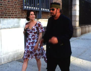 Neve Campbell and director James Toback on location in New York shooting IFC Films' When Will I Be Loved