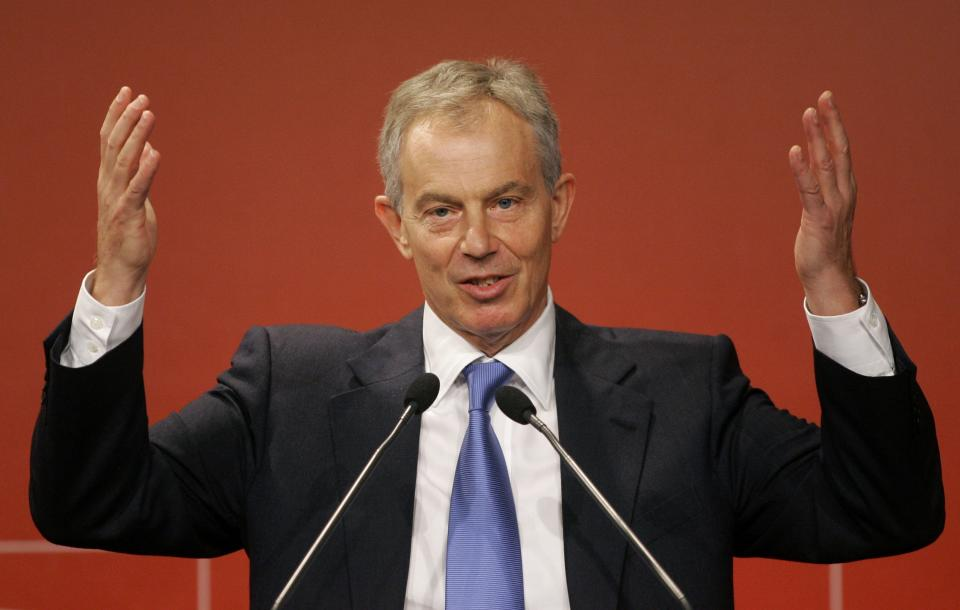 Former British Prime Minister Tony Blair delivers a speech during a seminar with businessmen and athletes in Sao Paulo, Brazil, Tuesday, Oct. 26, 2010. (AP Photo/Nelson Antoine)