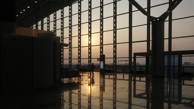 A worker leaves the new terminal two wing at Noi Bai international airport in Hanoi