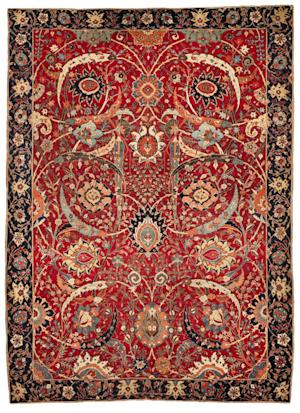 FILE - This undated file photo provided by Sotheby's shows a Sickle-Leaf Carpet, a Persian rug from Washington, D.C.'s Corcoran Gallery of Art, that was auctioned in New York on Wednesday, June 5, 2013 by Sotheby's. Sotheby's says it sold for $33.7 million, more than three times the previous auction record for a carpet. (AP Photo/Sotheby's, File)