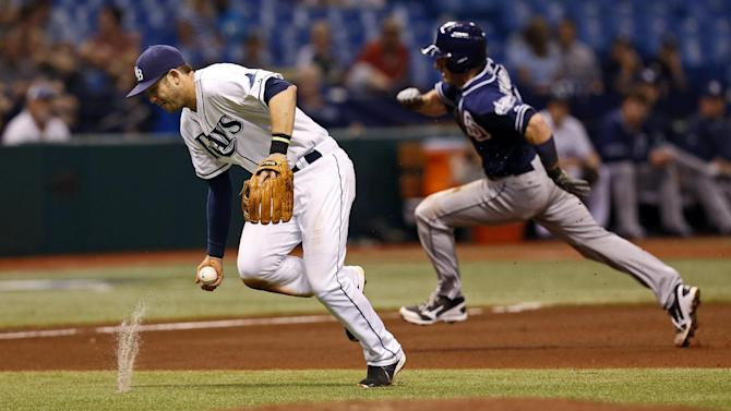 Tampa Bay Rays third baseman Evan Longoria, left, fields a ball hit by San Diego Padres' Everth Cabrera as Chris Denorfia rounds the bases behind him during the fourth inning of an interleague baseball game, Friday, May 10, 2013, in St. Petersburg, Fla. (AP Photo/Mike Carlson)