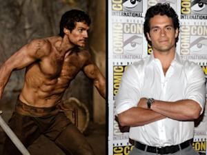 "Henry Cavill as Theseus in ""Immortals"" (left), and at Comic-Con in San Diego (right)  -- Getty ImagesRelativity Media"