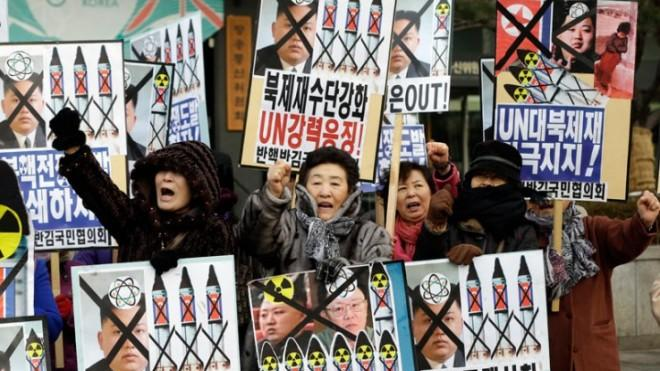 South Korean protesters attend an anti-North Korea rally following Tuesday's nuclear test.
