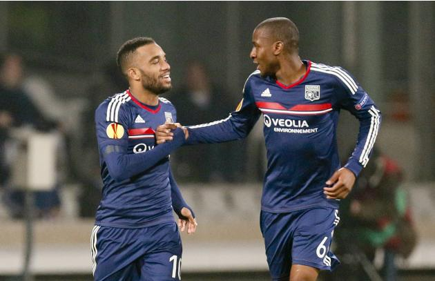 Olympique Lyon's Lacazette and Fofana celebrate after scoring against Viktoria Plzen during their Europa League soccer match at the Gerland stadium in Lyon