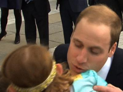 Raw: Four-year-old Snubs Prince William's Kiss